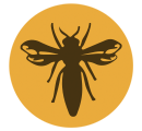 save our bees logo represents a queen honey bee